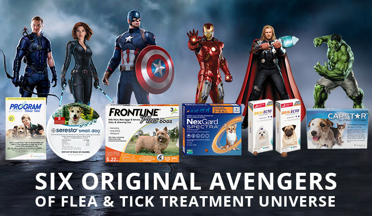 SIX ORIGINAL AVENGERS OF FLEA AND TICK TREATMENT UNIVERSE