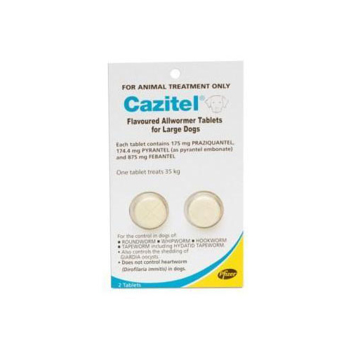 Cazitel Flavoured Allwormer Dogs 35Kgs 2 Tablet
