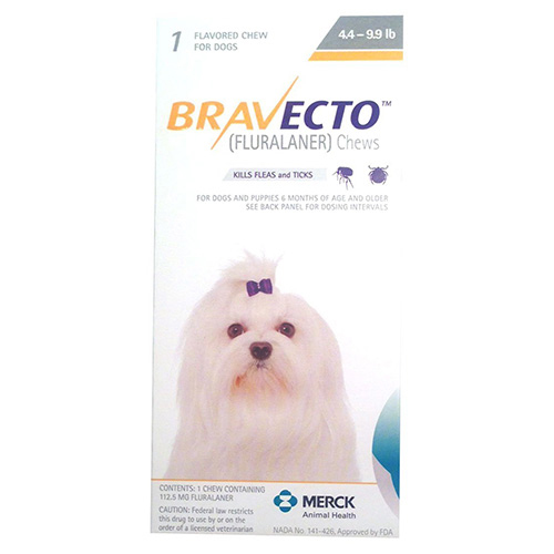 Bravecto for Toy Dogs 4.4 to 9.9 lbs (Yellow) 3 Chews
