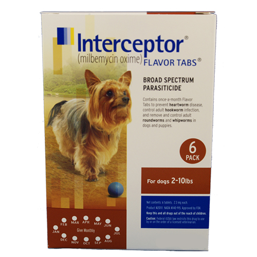 Interceptor Dogs 2-10 lbs (Brown) 6 Chews