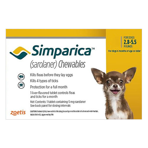 Simparica Flea & Tick Chewables for Dogs 2.8-5.5 lbs (Yellow)