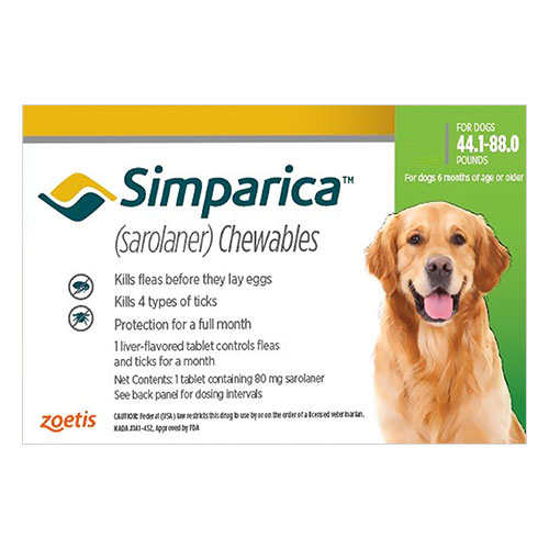 Simparica Flea & Tick Chewables for Dogs 44.1-88 lbs (Green)