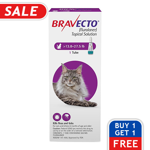 Bravecto Spot On for Large Cats 13.8 lbs - 27.5 lbs (Green)
