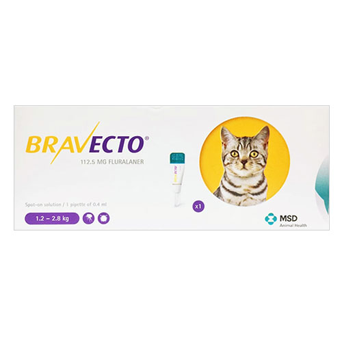 Bravecto Spot On for Small Cats 2.6 lbs - 6.2 lbs (Yellow) 1 Pack
