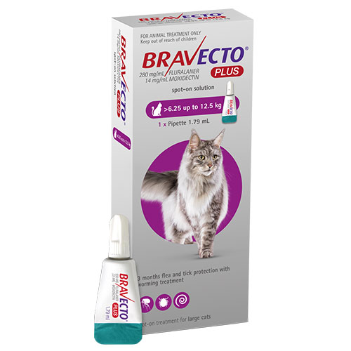 Bravecto Plus for Large Cats 500 mg (13.75 to 27.5 lbs) Purple