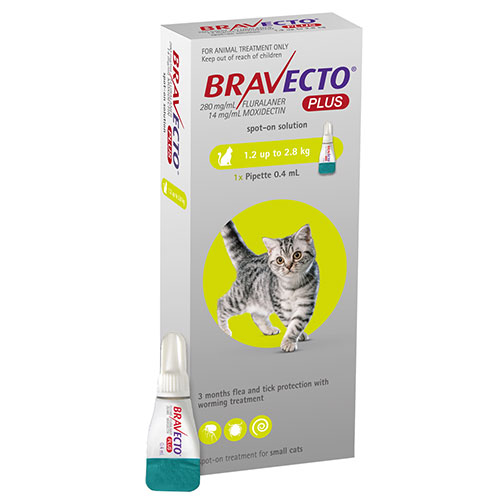Bravecto Plus for Small Cats 112 mg (2.6 to 6.2 lbs) Green