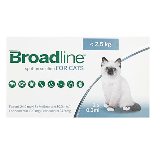 Broadline Spot-On Solution for Small Cats up to 5.5 lbs - 12 Pack