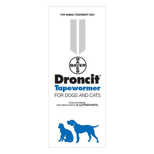 Droncit Tapewormer for Dogs & Cats 1 Tablet
