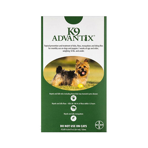 K9 Advantix Small Dogs/Pups 1-10 lbs (Green) 12 + 4 Doses Free