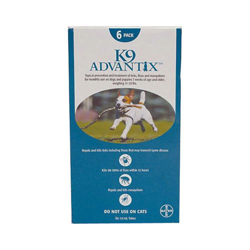 K9 Advantix Medium Dogs 11-20 lbs (Aqua) 6 + 2 Doses Free