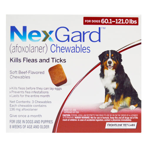 Nexgard Chewables for Extra Large Dogs 60.1-120 lbs (Red) 136mg 3 Chews
