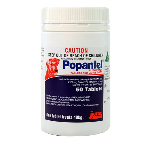 Popantel Allwormer for Dogs 40 Kg (88 lbs) 1 Tablet