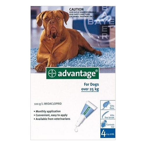 Advantage Extra Large Dogs over 55 lbs (Blue) 12 + 4 Doses Free