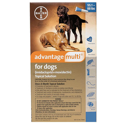 Advantage Multi (Advocate) Extra Large Dogs 55.1-88 lbs (Blue) 6 Doses
