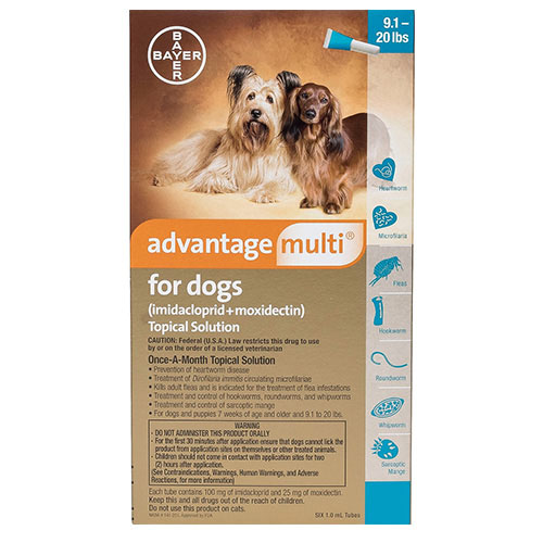 Advantage Multi (Advocate) Medium Dogs 9.1-20 lbs (Aqua) 3 Doses