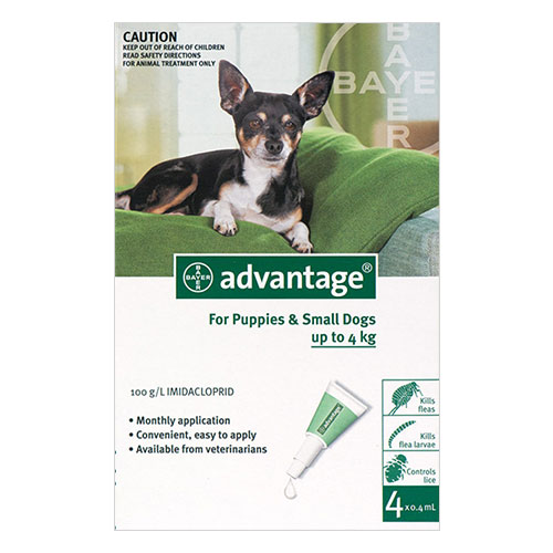 Advantage Small Dogs/Pups 1-10lbs (Green) 12 + 4 Doses Free