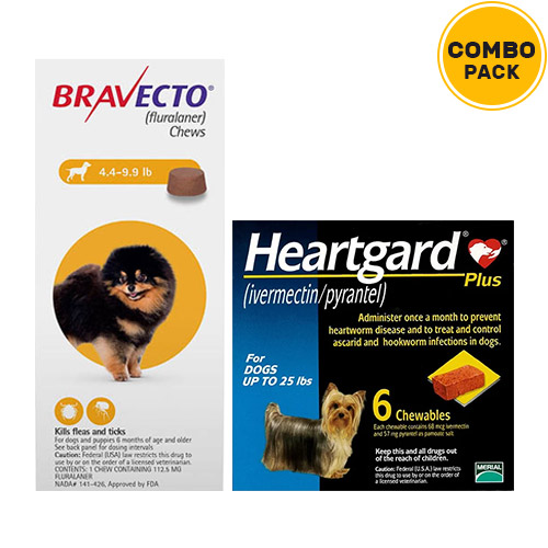 Bravecto Chews + Heartgard Plus Combo Pack  - For Very Small Dogs (5-10lbs)2 Doses of Bravecto Chews (Yellow) + 6 Doses of Heartgard Plus (Blue)