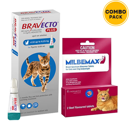 Bravecto Plus + Milbemax Cats Combo Pack  - For Medium Cats (6.2-13.75lbs)1 Dose of Bravecto Plus (Blue) + 2 Tablets of Milbemax Large Cats