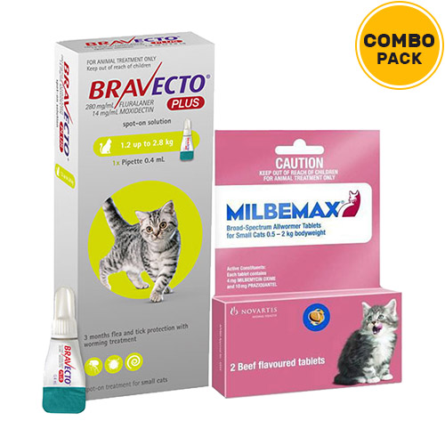 Bravecto Plus + Milbemax Cats Combo Pack  - For Small Cats (2.6-6.2lbs)1 Dose of Bravecto Plus (Green) + 2 Tablets of Milbemax Small Cats