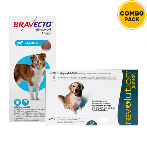 Bravecto + Revolution Combo Pack  - For Large Dogs (40-85lbs)2 Doses Bravecto (Blue) + 6 Doses Revolution (Green)