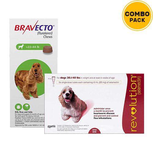 Bravecto + Revolution Combo Pack  - For Medium Dogs (20-40lbs)2 Doses of Bravecto (Green) + 6 Doses of Revolution (Red)