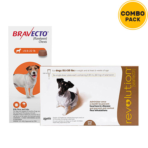 Bravecto + Revolution Combo Pack  - For Small Dogs (10-20lbs)2 Doses Bravecto (Orange) + 6 Doses of Revolution (Brown)
