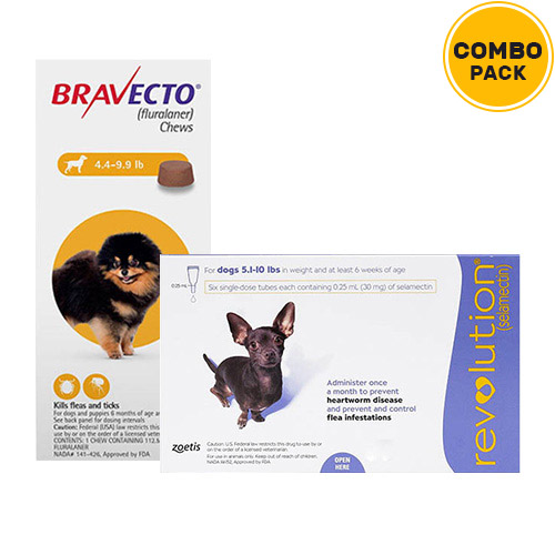 Bravecto + Revolution Combo Pack  - For Very Small Dogs (5-10lbs)2 Doses of Bravecto (Yellow) + 6 Doses of Revolution (Purple)