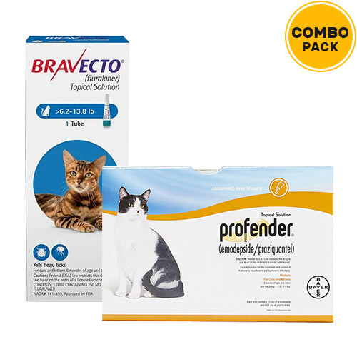 Bravecto Spot On & Profender Combo Pack  - For Medium Cats 5.5-11lbs1 Dose Bravecto Spot On (250 mg) + 3 Doses of Profender (0.70 ml)