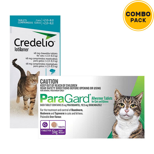 Credelio + Paragard Allwormer Combo Pack  - For Cats6 Doses of Credelio Cats + 4 Tablets of Paragard Cats