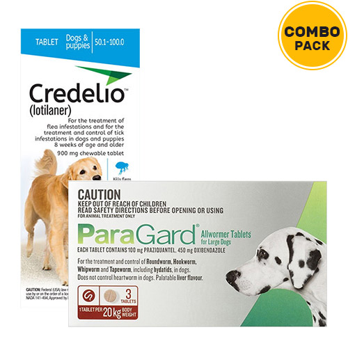 Credelio + Paragard Allwormer Combo Pack  - For Extra Large Dogs (44-100lbs)6 Doses of Credelio Dogs (Blue) + 6 Tablets of Paragard Dogs (Red)