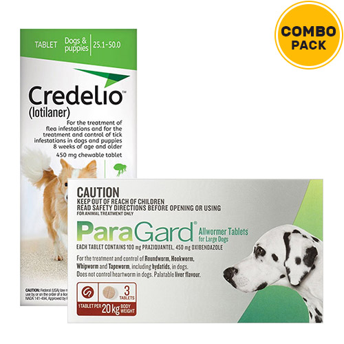 Credelio + Paragard Allwormer Combo Pack  - For Large Dogs (22-44lbs)6 Doses of Credelio Dogs (Green) + 3 Tablets of Paragard Dogs (Red)