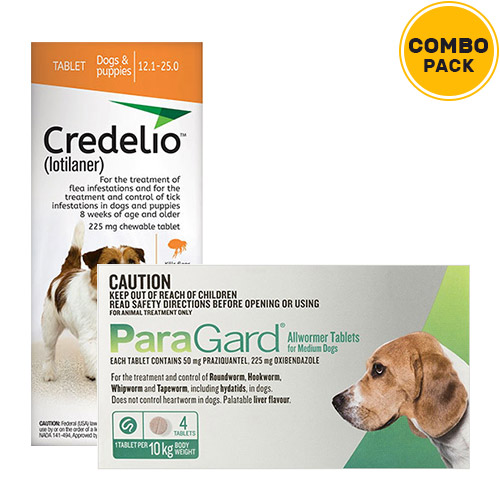 Credelio + Paragard Allwormer Combo Pack  - For Medium Dogs (12-22lbs)6 Doses of Credelio Dogs (Orange) + 4 Tablets of Paragard Dogs (Green)