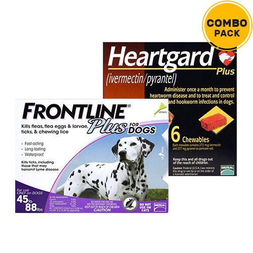 Frontline Plus & Heartgard Plus Combo Pack  - For Large Dogs (45-88lbs)6 Doses of Frontline Plus (Purple) + 6 Doses of Heartgard Plus (Brown)