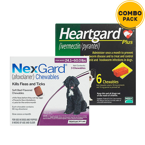 Nexgard  & Heartgard Plus Combo Pack  - For Large Dogs (24-50lbs)6 Doses of Nexgard (Purple) + 6 Doses of Heartgard Plus (Green)