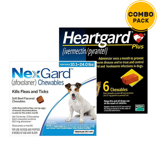 Nexgard  & Heartgard Plus Combo Pack  - For Medium Dogs (10-24lbs)6 Doses of Nexgard (Blue) + 6 Doses of Heartgard Plus (Blue)