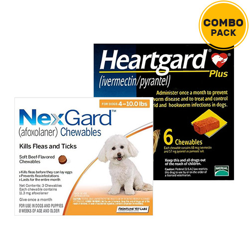 Nexgard  & Heartgard Plus Combo Pack  - For Small Dogs (0-10lbs)6 Doses of Nexgard (Orange) + 6 Doses of Heartgard Plus (Blue)