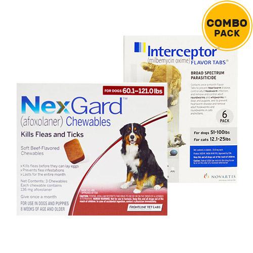 Nexgard & Interceptor Combo Pack  - For Extra Large Dogs (51-100lbs)6 Doses of Nexgard (Red) + 6 Doses of Interceptor (White)