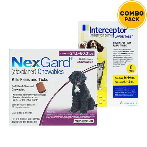 Nexgard & Interceptor Combo Pack  - For Large Dogs (25-50lbs)6 Doses of Nexgard (Purple) + 6 Doses of Interceptor (Yellow)
