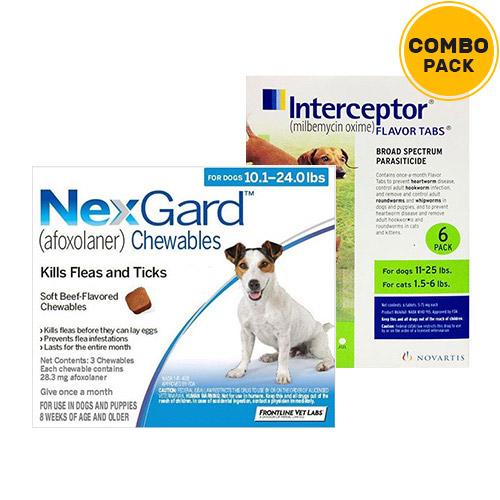 Nexgard & Interceptor Combo Pack  - For Medium Dogs (10-25lbs)6 Doses of Nexgard (Blue) + 6 Doses of Interceptor (Green)