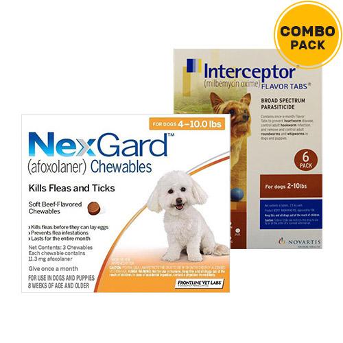 Nexgard & Interceptor Combo Pack  - For Small Dogs (0-10lbs)6 Doses of Nexgard (Orange) + 6 Doses of Interceptor (Brown)