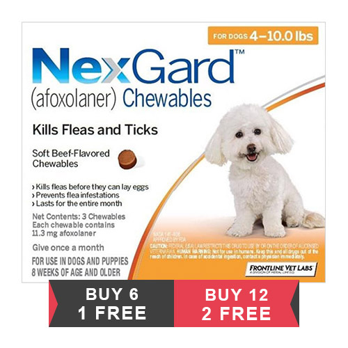 Nexgard Chewables for Small Dogs 4-10lbs (Orange) 11mg