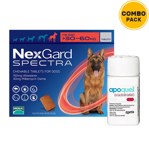 Nexgard Spectra + Apoquel Combo Pack  - For Extra Large Dogs (66-132lbs)6 Doses of Nexgard Spectra (Red) + 10 Tablets of Apoquel For Dogs (16 mg)