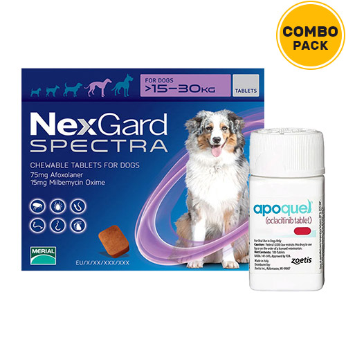 Nexgard Spectra + Apoquel Combo Pack  - For Large Dogs (33-66lbs)6 Doses of Nexgard Spectra (Purple) + 10 Tablets of Apoquel For Dogs (5.4 mg)