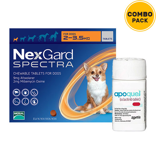 Nexgard Spectra + Apoquel Combo Pack  - for XSmall Dogs (4.4-7.7lbs)6 Doses of Nexgard Spectra (Orange) + 10 Tablets of Apoquel For Dogs (3.6 mg)