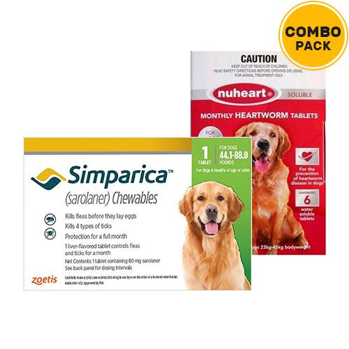 Simparica + Nuheart (Generic Heartgard)   - For Large Dogs (44-88lbs)6 Doses of Simparica (Green) + 6 Doses of Nuheart (Red)