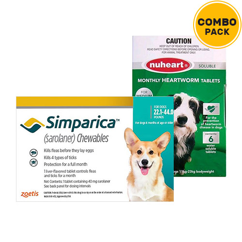 Simparica + Nuheart (Generic Heartgard)   - For Medium Dogs (22-44lbs)6 Doses of Simparica (Blue) + 6 Doses of Nuheart (Green)