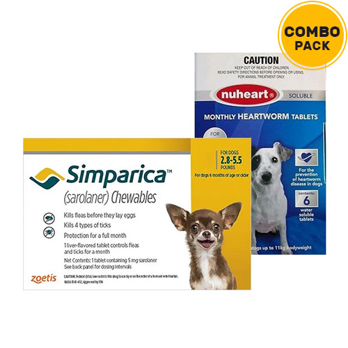 Simparica + Nuheart (Generic Heartgard)   - For Very Small Dogs (2.8-5.5lbs)6 Doses of Simparica (Yellow) + 6 Doses of Nuheart (Blue)