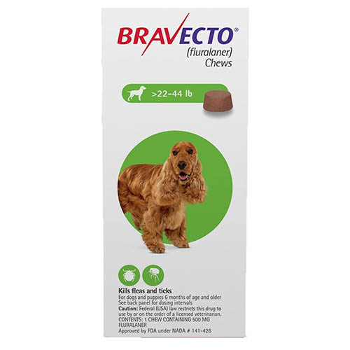Bravecto for Medium Dogs 22- 44 lbs (Green) 3 Chews
