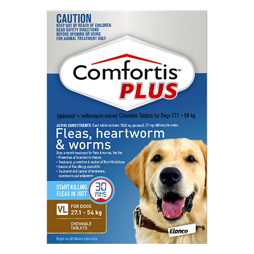 Comfortis Plus For Very Large Dogs 27.1-54 Kg (60.1 - 120lbs) Brown