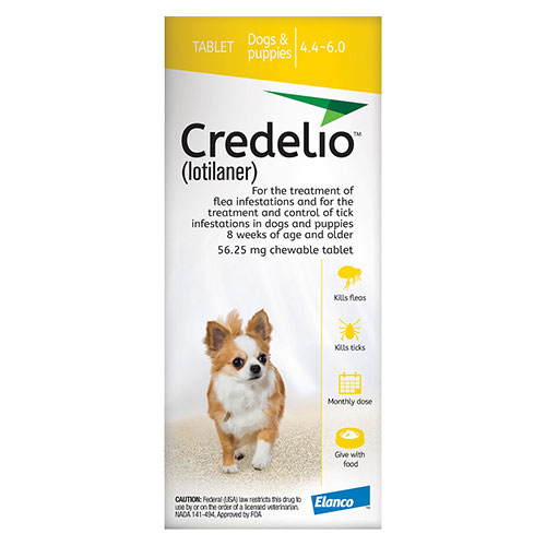 Credelio for Dogs 04 to 06 lbs (56.25 mg) Yellow - Expiry Aug 2021